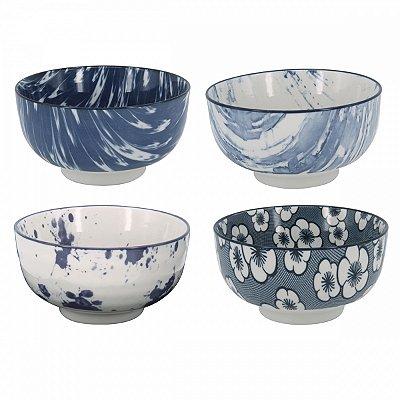 Conjunto de bowls azul e branco