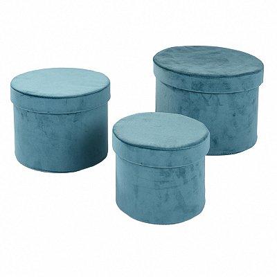 Conjunto Caixas Veludo Verde - 3 peças