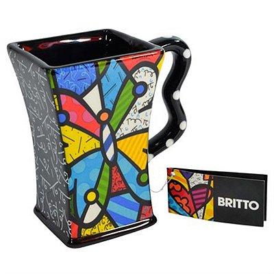 Caneca Quadrada Borboleta - Romero Britto