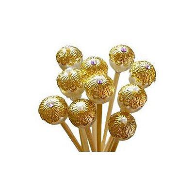 Varetas decoradas douradas 35cm - 10 unidades