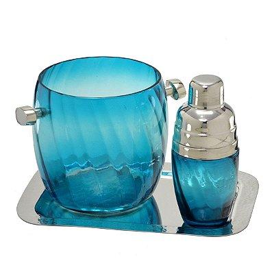 Jogo p/ Bar Azul Prata - 3 peças