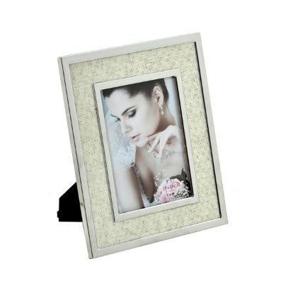 Porta Retrato Prata Bege Decorativo 13x18cm