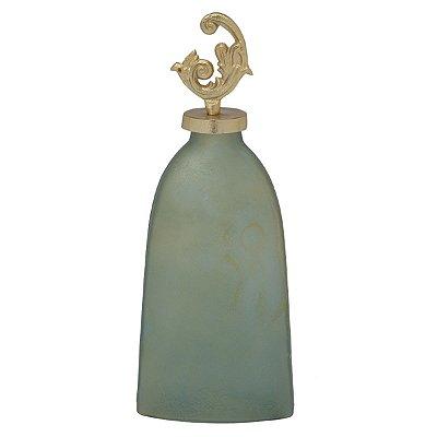 Potiche Vidro Prata Cinza Decorativa 36cm
