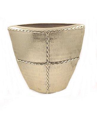 Vaso Decorativo Metal Dourado Trançado