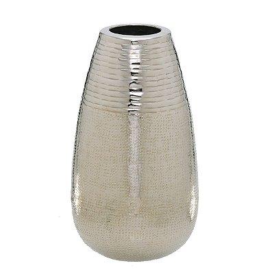 Vaso Decorativo Metal Prata 30,5cm