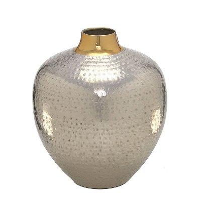 Vaso Decorativo Metal Prata c/ Dourado 27cm