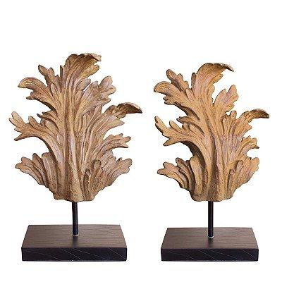 Conjunto 2 Estatuetas Folhas Leaf