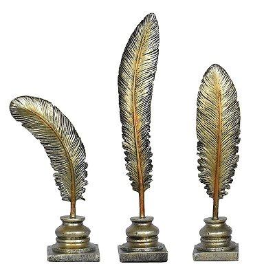 Conjunto 3 Penas Douradas