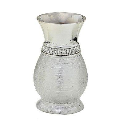 Vaso Decorativo Cerâmica Prata 19cm
