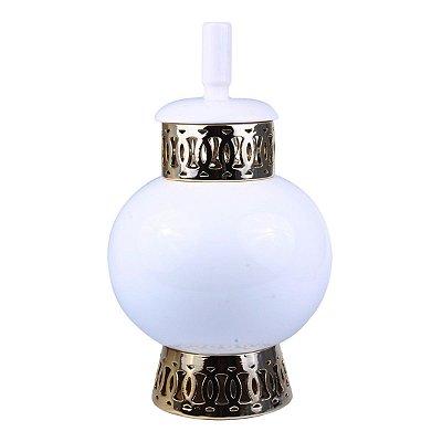 Pote Decorativo Branco c/ Dourado 34cm