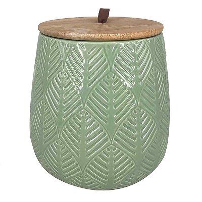 Pote Cerâmica Verde c/ Tampa 15cm BTC