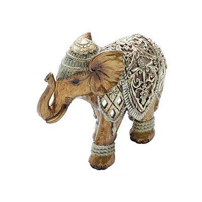 Elefante Decorativo Dourado 16cm Rojemac