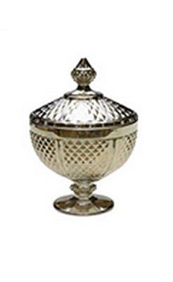 Potiche Decorativo Perseu Cinza Metalizado Lyor