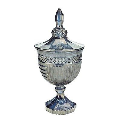 Potiche Decorativo Santorini Cinza Metalizado Lyor