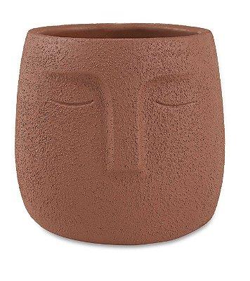 Cachepot Face Marrom 14cm Mart