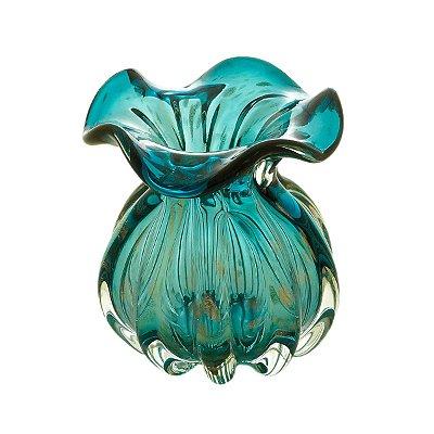 Vaso Murano Italy Azul Marinho e Rosê 11cm Lyor