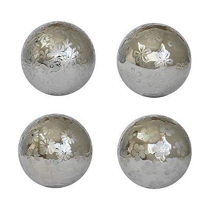 Conjunto 4 Bolas Decorativas Prata Ultramarine