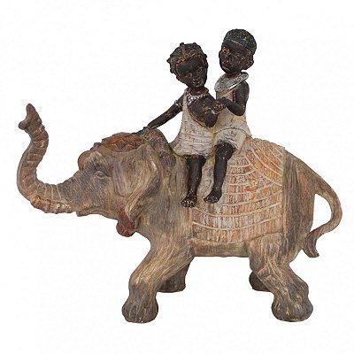 Elefante c/ Duas Crianças Decorativo BTC