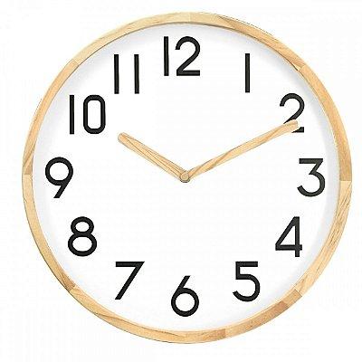 Relógio de Parede Cor Madeira e Branco BTC