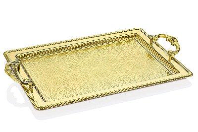 Bandeja Decorativa Retangular Metal Ouro Vylux