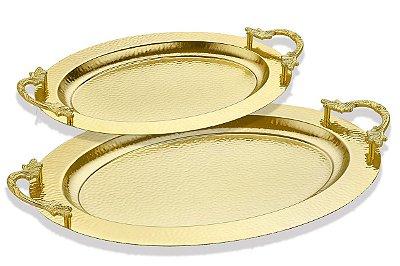 Conjunto 2 Bandejas Ovais Ouro Vylux