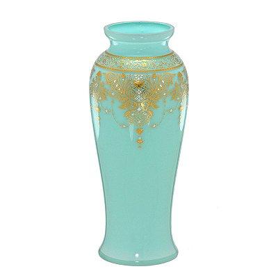 Vaso Vidro Verde c/ Dourado 27cm Mabruk