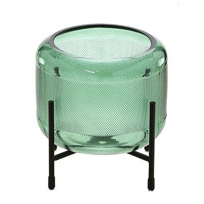 Vaso Vidro Verde c/ Suporte 15cm Mabruk