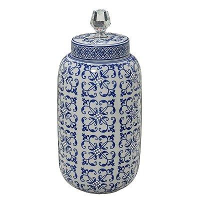 Potiche Decorativo Branco e Azul 36cm Mabruk