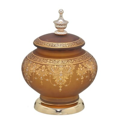 Potiche Vidro Marrom c/ Dourado 23cm Mabruk