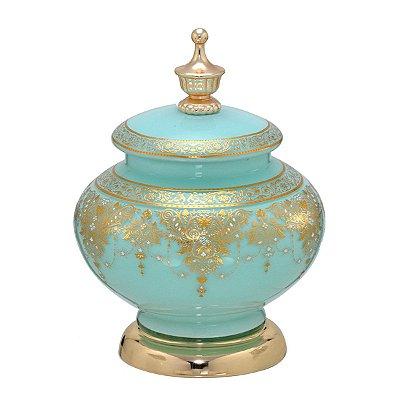 Potiche Vidro Verde c/ Dourado 23cm Mabruk