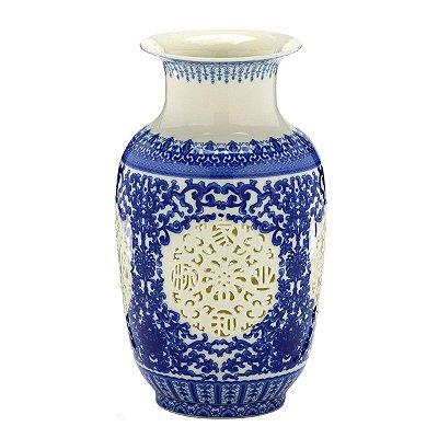 Vaso Cerâmica Azul e Branco 27cm Mabruk