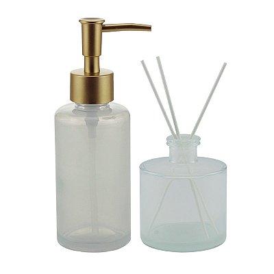 Conjunto Porta Sabonete Líquido e Difusor Vidro Branco Rojemac