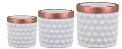 Kit Cachepot Branco em Cimento 3 peças Mart