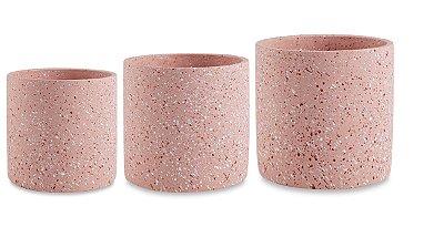 Kit Cachepot Cimento Rosa 3 peças Mart