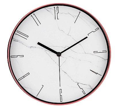 Relógio de Parede Marmorizado Branco e Rose Gold Mart