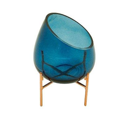 Castiçal Vidro Azul 18cm Rojemac