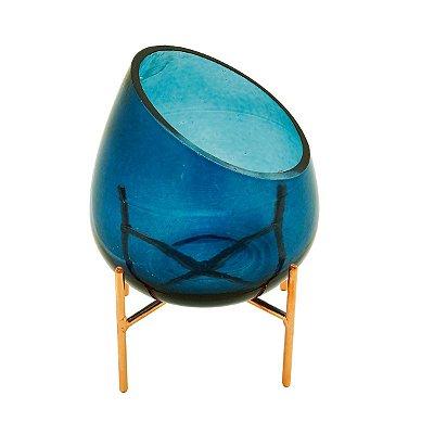 Castiçal Vidro Azul 21cm Rojemac