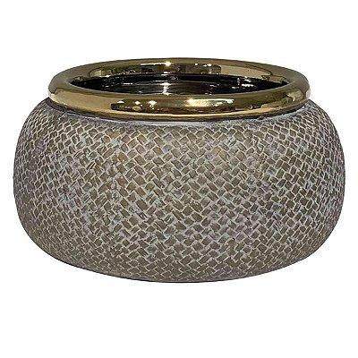 Cachepot Cerâmica Bege c/ Dourado BTC
