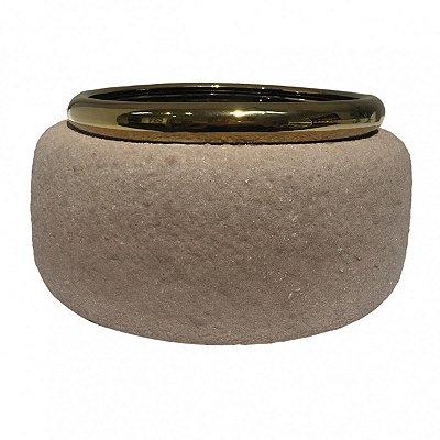 Cachepot Cerâmica Marrom e Dourado BTC
