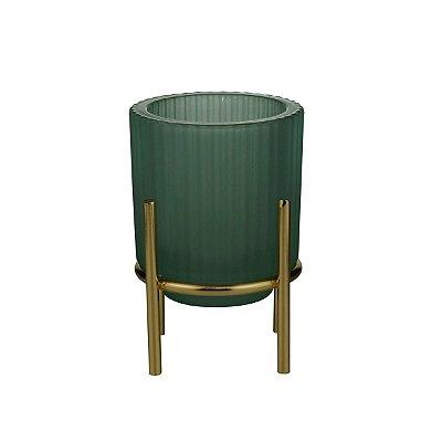 Castiçal Vidro Verde 11cm Rojemac