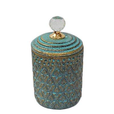 Potiche Decorativo Azul 25cm Nataluz
