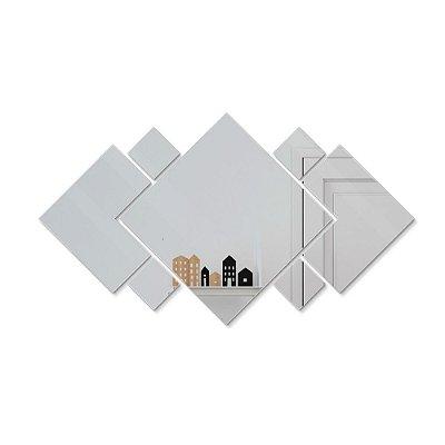 Espelho Decorativo feito em Acrílico Espelhado (50x28cm) - Quadrados