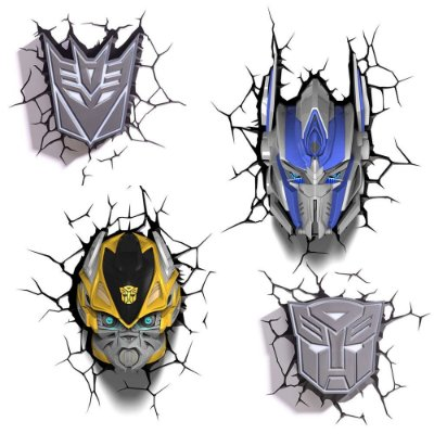 Conjunto Luminárias 3D Light FX Transformers Bumble Bee/Optimus Prime/Autobots/Decepticon
