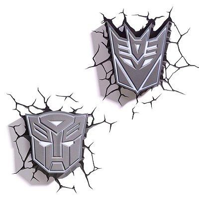 Conjunto Luminárias 3D Light FX Transformers Escudos Autobots/Decepticon