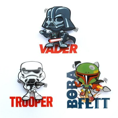 Mix Mini Luminárias 3D Light FX Star Wars Vader/Trooper/Boba