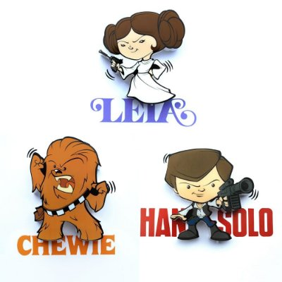 Mix Mini Luminárias 3D Light FX Star Wars Solo/Chewie/Leia