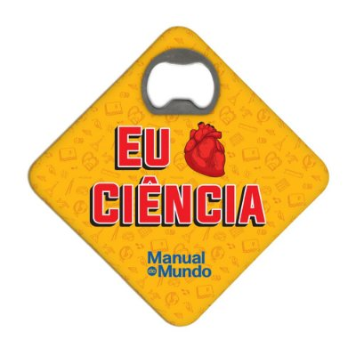 Porta Copos c/ Abridor MANUAL DO MUNDO - Eu Amo Ciência (laranja)