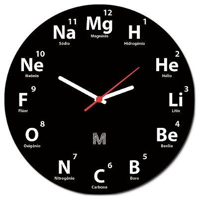 Relógio de Parede 30x30cm MANUAL DO MUNDO - Elementos Redondo Preto