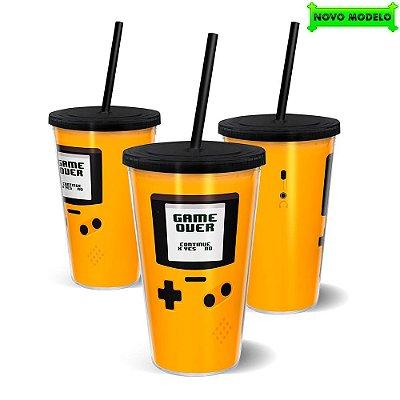 Copo Canudo Parede Dupla 500ml Gameboy Amarelo - Beek