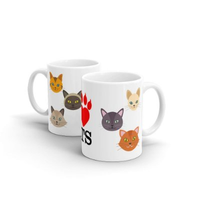 Caneca Personalizada Cerâmica I LOVE CATS - Beek